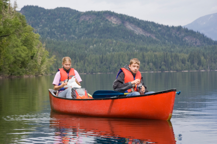 Boy and Girl canoeing