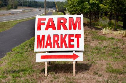 Farers Market Road Sign