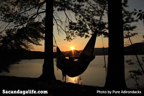 Adirondack sunset - relaxing hammock
