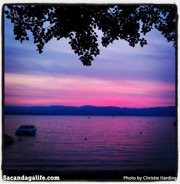 Bright pink sunset on the lake