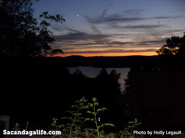 Crescent moon over the Great Sacandaga