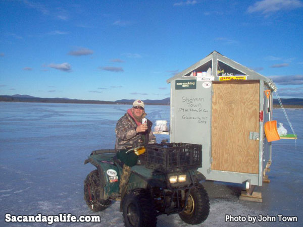 Ice shanty - fishing on sacandaga lake
