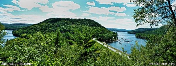 Hilltop panorama of the Great Sacandaga Lake